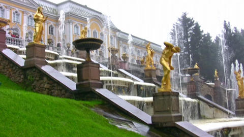 Fountain. Peterhof. Petersburg stock footage