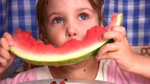 little girl with watermelon Stock Video Footage