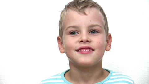 face boy child on white Stock Video Footage