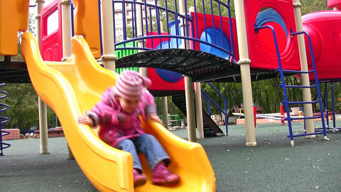 little girl on playground, better version Stock Video Footage