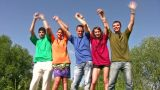 Dancing Friends With Hands Up stock footage
