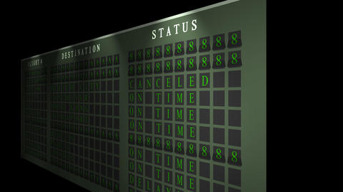 Airport flight destination board showing status - Light - Flickering Animation