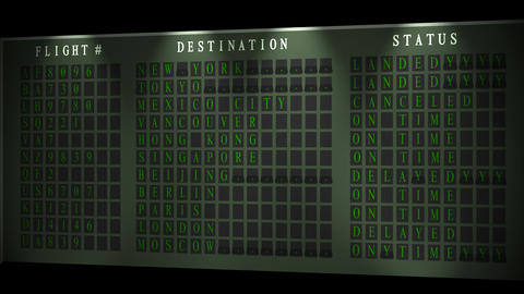Airport flight destination board showing status - Light -... Stock Video Footage