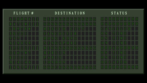 Airport flight destination board showing status Animation