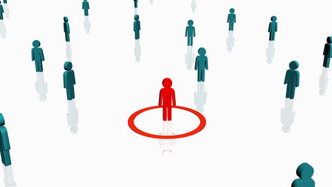 Red person surrounded by others - Human Resources Stock Video Footage