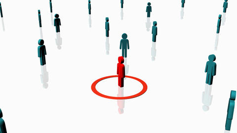 Red person surrounded by others - Human Resources Animation