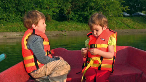 Children on boat Footage