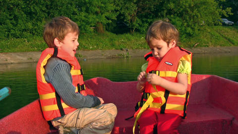 Children on boat Stock Video Footage