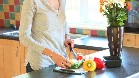 Portrait of a woman preparing a healthy salad Footage