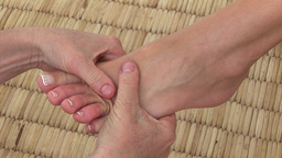 Close up of a woman enjoying a foot massage Footage