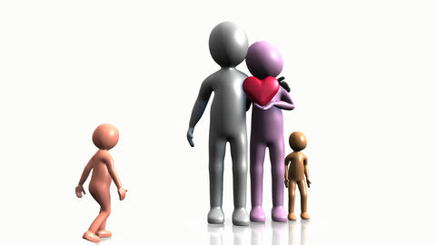 3D family holding a heart Stock Video Footage
