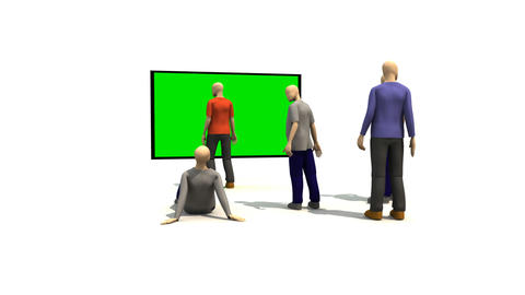 3D men presenting green screen Animation