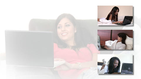 Stock animation showing women using a laptop Animation