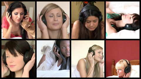 Stock animation of delighted women listening music Animation