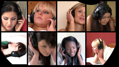 Stock animation of multiethnic women listening mus Stock Video Footage