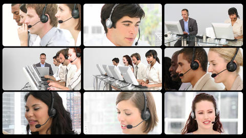 Montage of service customer agents at work Animation