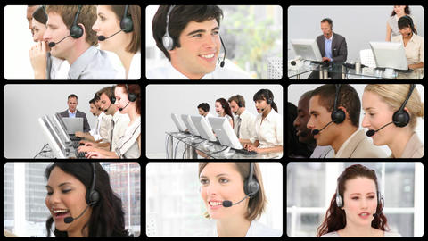Animation of successful customer agents Stock Video Footage