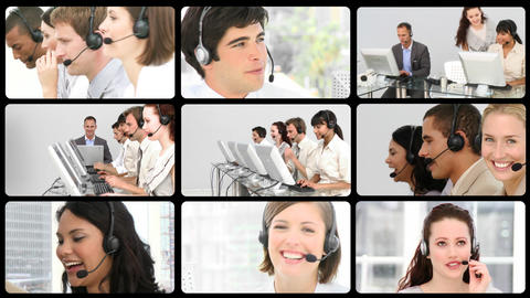 Animation of positive customer agents Stock Video Footage