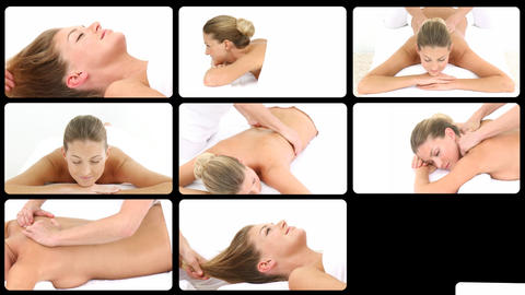 Montage of a blond woman relaxing in a spa center Animation