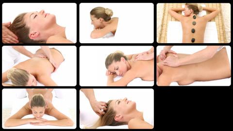 Montage of an attractive woman relaxing in a spa center Animation
