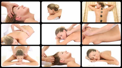 Montage of an attractive woman relaxing in a spa c Stock Video Footage