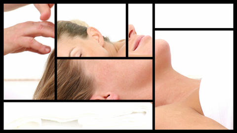 Montage presenting a relaxed woman having spa treatments Animation