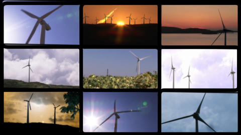 Montage footage presenting wind turbines Animation
