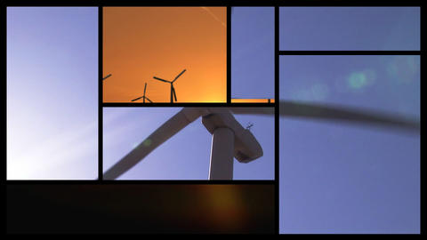 3D montage showing wind turbines Animation