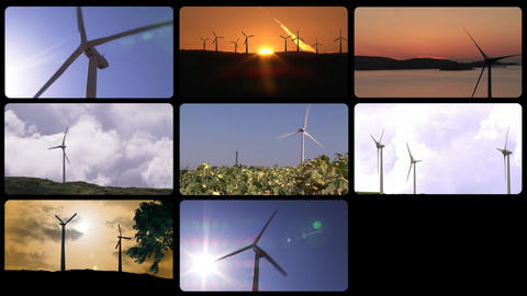 3D montage of the wind power Animation