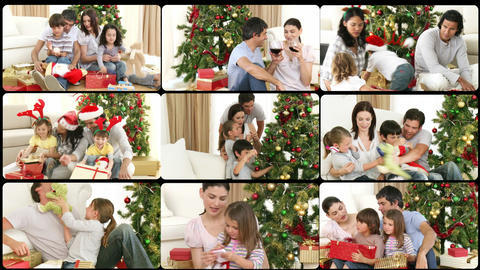 3D animation of families celebrating Christmas Stock Video Footage