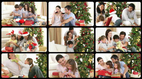 3D animation of happy families celebrating Christm Animation