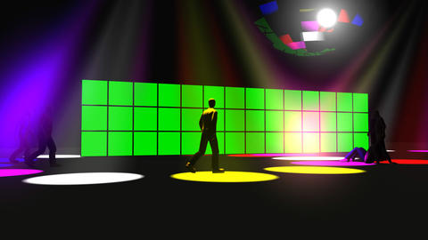 3D animation of a green screen with a disco ball Animation