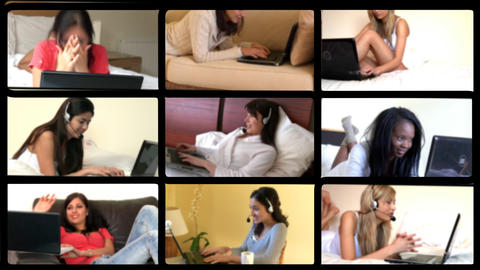 3D animation of relaxed women using laptop Animation