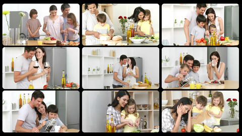 Montage of happy families in the kitchen Animation