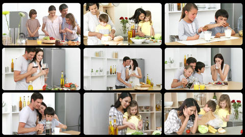 Montage of caucasian families in the kitchen Animation