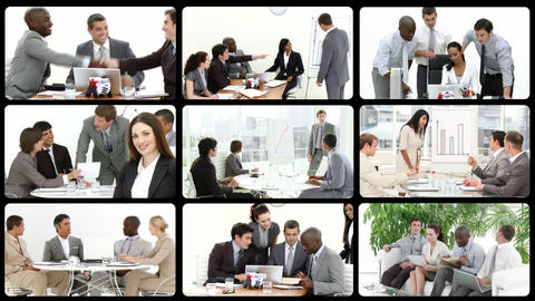 Montage presenting business team at work Stock Video Footage
