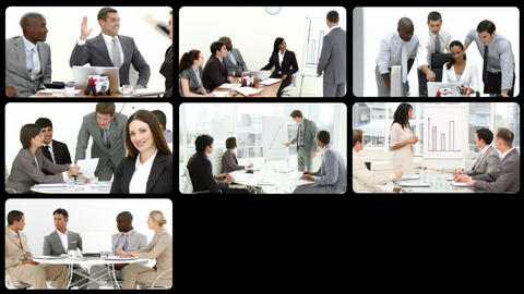 Montage presenting business people at work Stock Video Footage