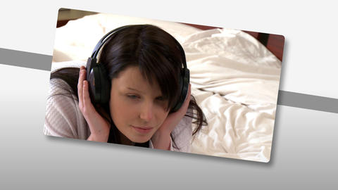 Montage on young woman listening music at home Animation