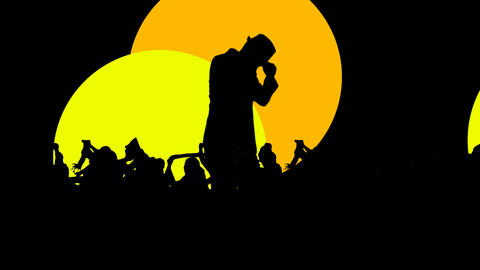 Silhouette of a man dancing with colorful spotlights Animation