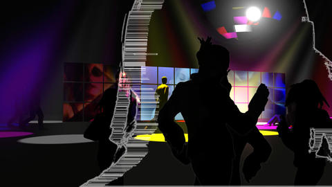Young dance performers in a night club Animation