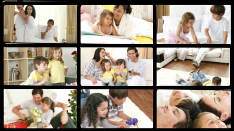 Montage of jolly families playing at home Footage