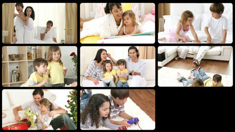 Montage of cheerful families playing at home Stock Video Footage