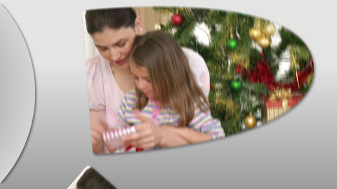 Cheerful families at Christmas time Stock Video Footage