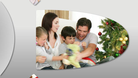 Cheerful families at Christmas time Animation