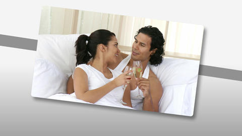 Animation presenting affectionate couples at home Animation