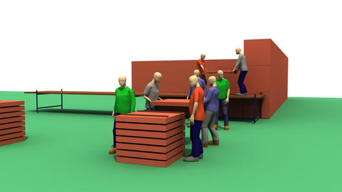 3D men building a house Animation