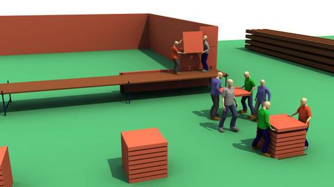 3D men building a house Stock Video Footage