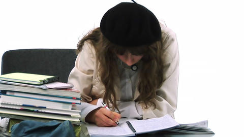 YoungTeenager with school books Footage