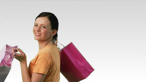 Happy Woman with shopping Stock Video Footage