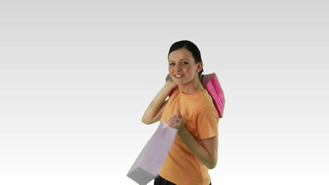 Merry Woman with shopping bags Stock Video Footage